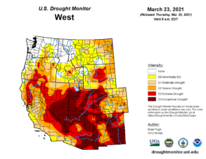 drought map of northern CA dated March 23